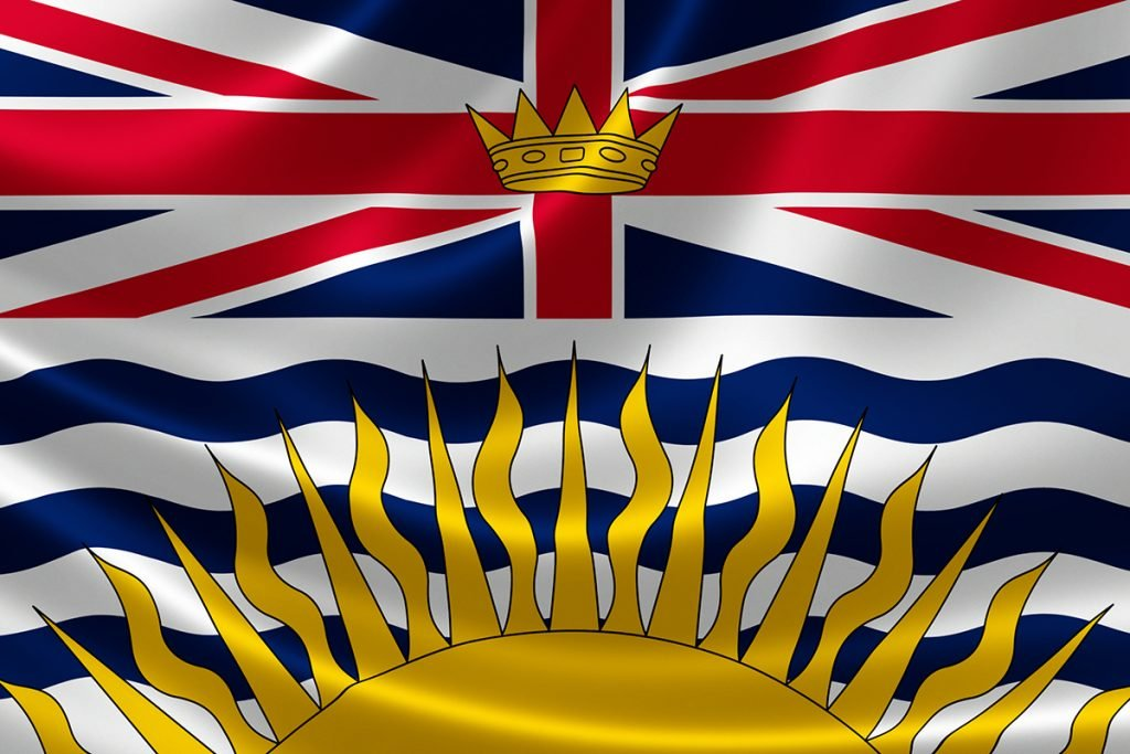 3D rendering of the Canadian provincial flag of British Columbia on satin texture.